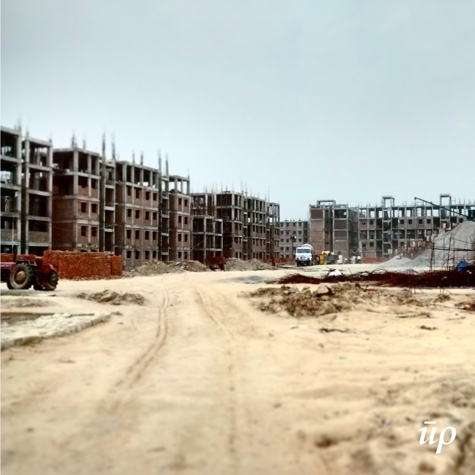 An affodable housing project underway In New Delhi.