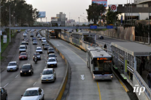 A bus rapid transit system with dedicated lanes and infrastructure for buses.