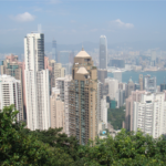High-rise densification of Hongkong to manage population in a small band of land.