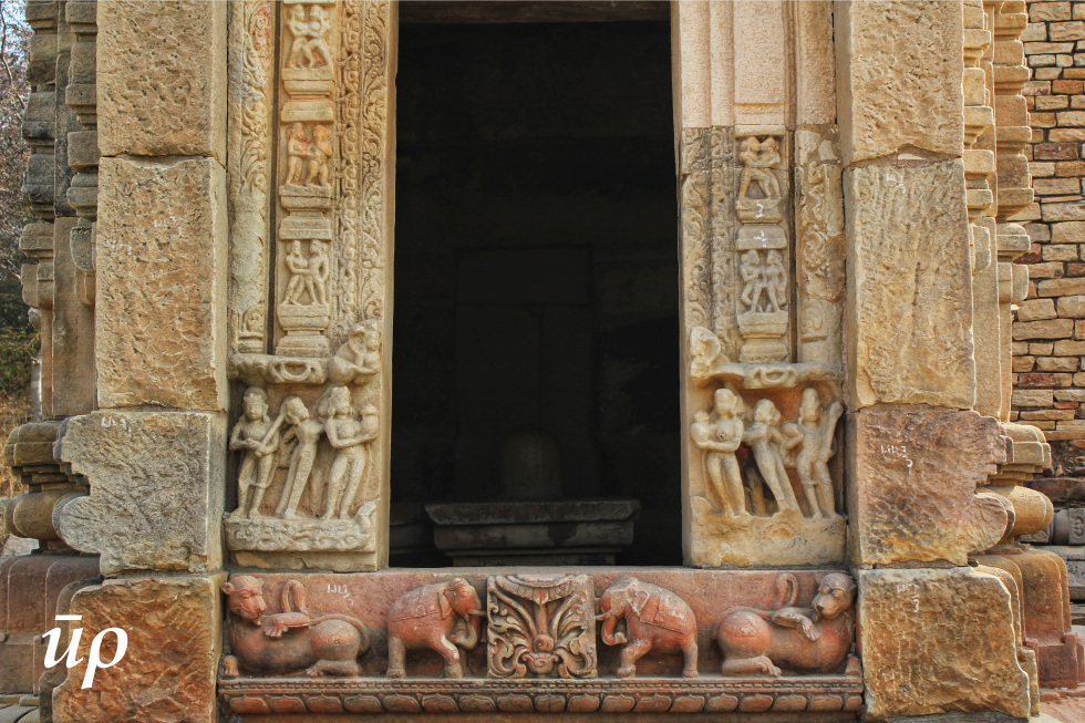 Shivalinga is enshrined in the temple. Statues of elephants and lions decorate the threshold of the temple.